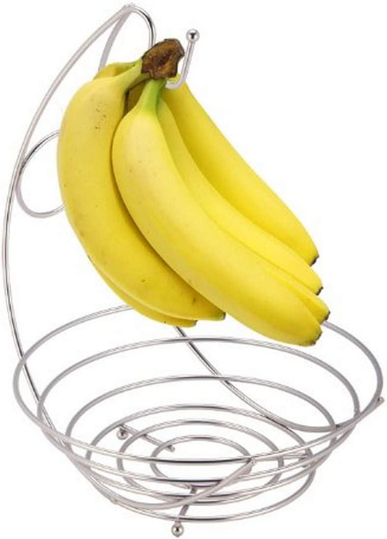 Home Basics Satin Nickel Collection Fruit Bowl with Banana Tree