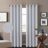 H Versailtex Classical Grommet Room Darkening Thermal Insulated Thick Quality Textured Tiny Plaid Linen Like Innovated Extra Long Curtains and Drapes 52 by 108 Inch Silver White 2 Panels For Sale