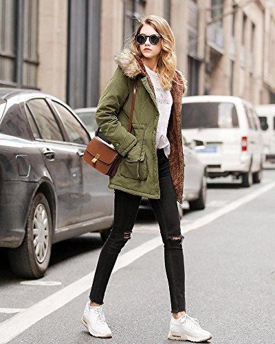 sección tamaño chaquetas cordero Invierno delgada larga la de con las capa mujeres cuello gran de del nuevo de y capucha algodón 3 de piel de ocasional wSCT8qw