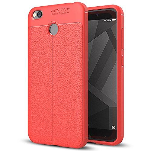 Xiaomi Redmi 4X Hülle, MSVII® Anti-Shock Weich TPU Silikon Hülle Schutzhülle Case Und Displayschutzfolie für Xiaomi Redmi 4X - Rot / RED JY90046