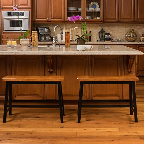 Counter Bar Stool Bench Dining Wood Wide Saddle Kitchen Chair Seating (Set of 2) (Seating Bench Bar)