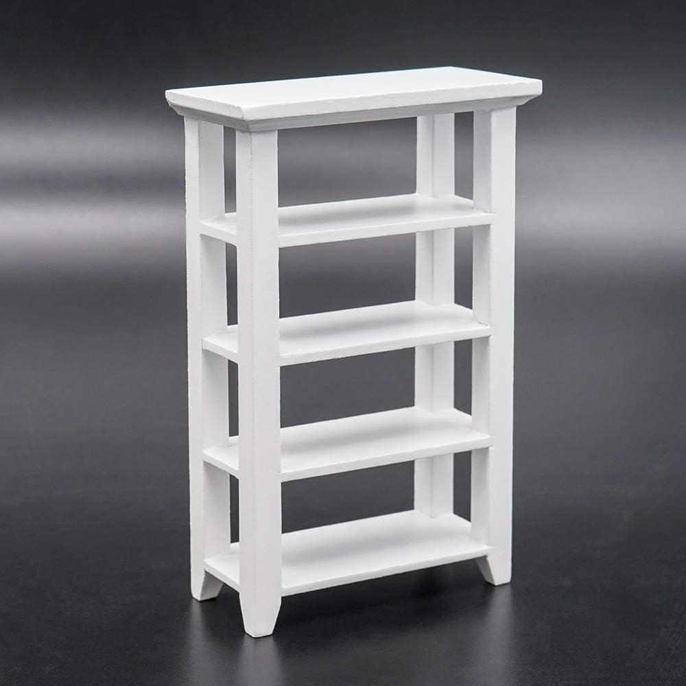Odoria 1:12 Miniature Wooden Storage Bookshelf Display Rack Dollhouse Furniture Accessories