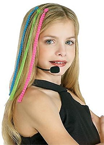 Needzo Multicolored Pop Diva Hair Pieces Costume for Girls, 10 inches]()