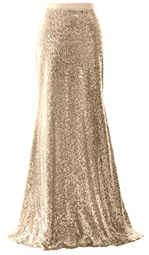 Skirt Party Sequin Bridesmaid Dress Wedding Maxi Women Mermaid MACloth Champagner Long wBIxIA