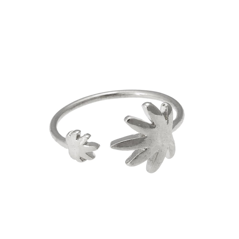 CHUANGYUN Double Maple Leaves One Large and One Small Simple Style Mini Open Ring (Silver)