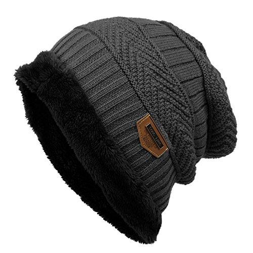 Bifast Fleece Cable Knitted Beanie Warm Winter Hat Caps Women Men