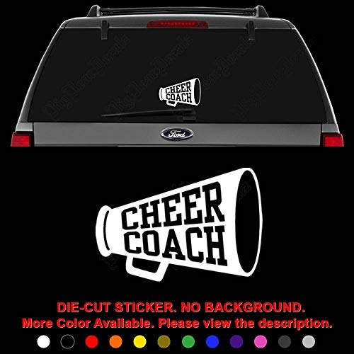 (Cheer Coach Cheerleading Die Cut Vinyl Decal Sticker for Car Truck Motorcycle Vehicle Window Bumper Wall Decor Laptop Helmet Size- [8 inch] / [20 cm] Wide || Color- Gloss Black )