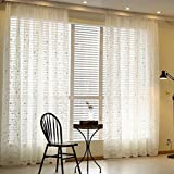 LFHT Romantic Home Decor Tab Top Embroidered Flower Grommet Voile Sheer Window Curtain Panel (54 Inch X 84 Inch, White)