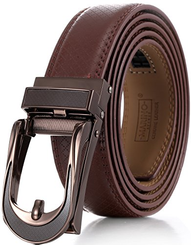 "Marino Avenue Mens Genuine Leather Ratchet Dress Belt with Open Linxx Leather Buckle, Enclosed in an Elegant Gift Box - Brown - Style 141 - Custom Up to 44"" Waist"