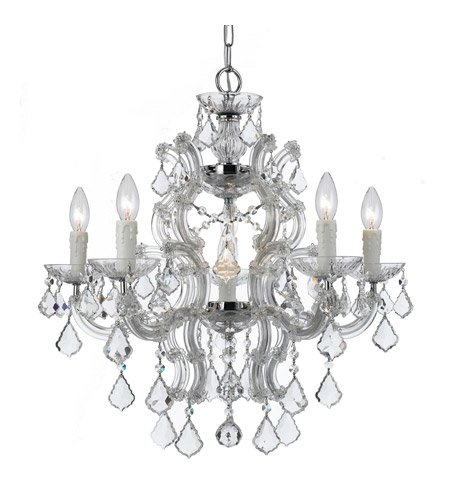 - Chandeliers 6 Light with Polished Chrome Clear Swarovski Strass Clear Crystal Wrought Iron 23 inch 360 Watts - World of Lighting