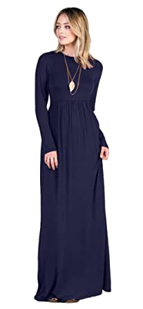 3b006c4fb Tabeez Women's Casual Long Babydoll Jersey Maxi Dress With Long Sleeves  (Extra Large, Navy