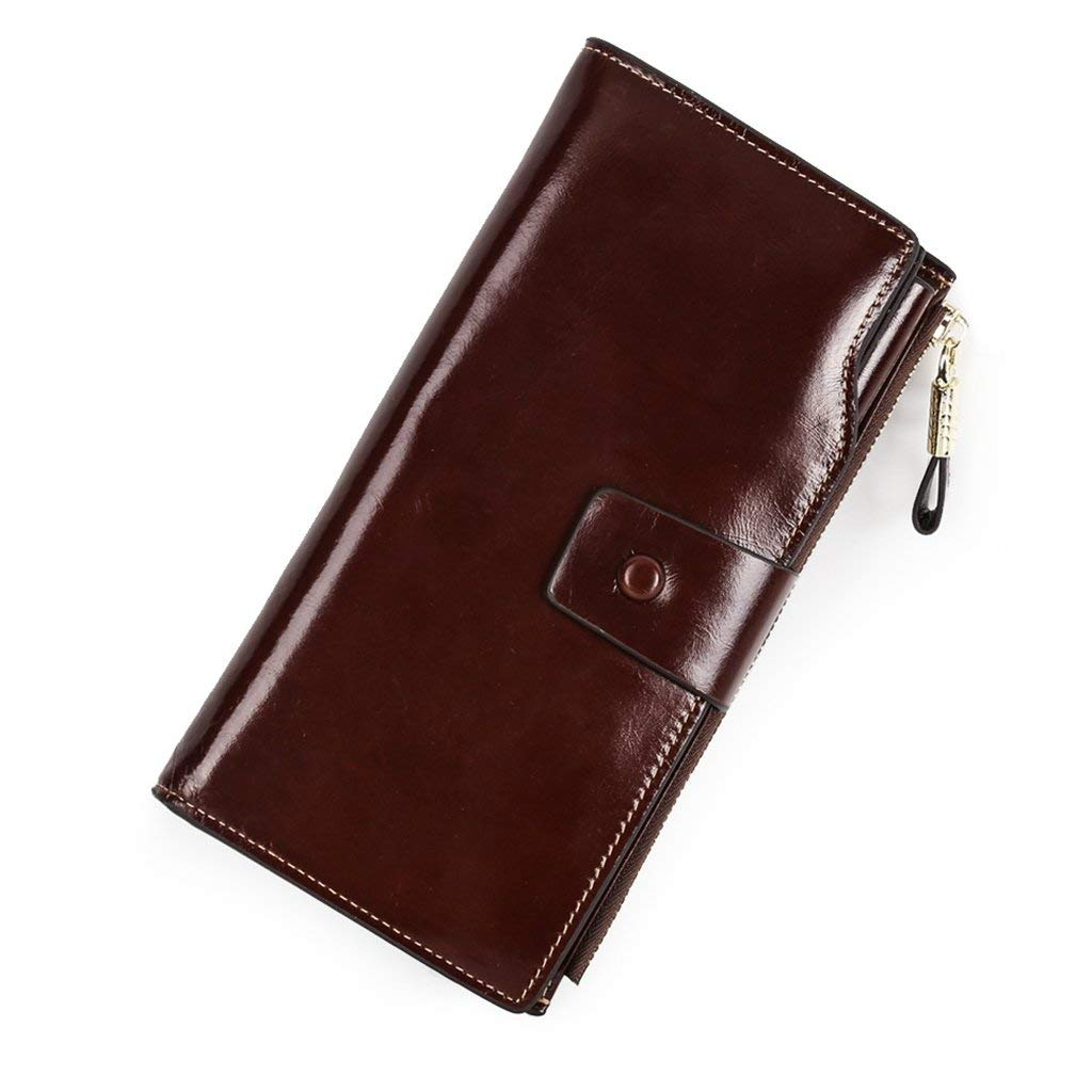 7 Cross Women's Leather Wallets RFID Blocking Vintage Design Large Capacity for Work (color    2)