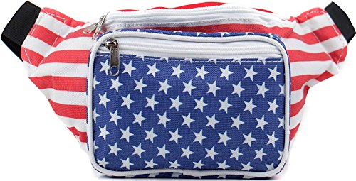 Sojourner American Flag Fanny Pack - USA Packs, 4th of July, Stars and Stripes, Red White, and Blue Eagle Waist Bag Belt Bags -