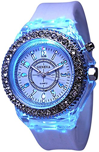 Fanmis Children Students Sport Rhinestone LED Flashing Light up Color Changing Silicone Jelly Watch White