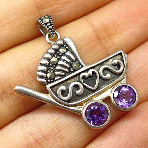 - 925 Sterling Silver Real Amethyst & Marcasite Gem Baby Stroller Pendant Jewelry Making Supply by Wholesale Charms