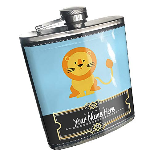 Neonblond Flask Cute Animals for Kids Lion Custom Name Stainless Steel