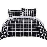 Top Finel King Duvet Cover Bedding Set 2 King Pillowcase Covers Durable Soft Breathable Brushed Microfiber,3Pcs,BlackWhite&Square