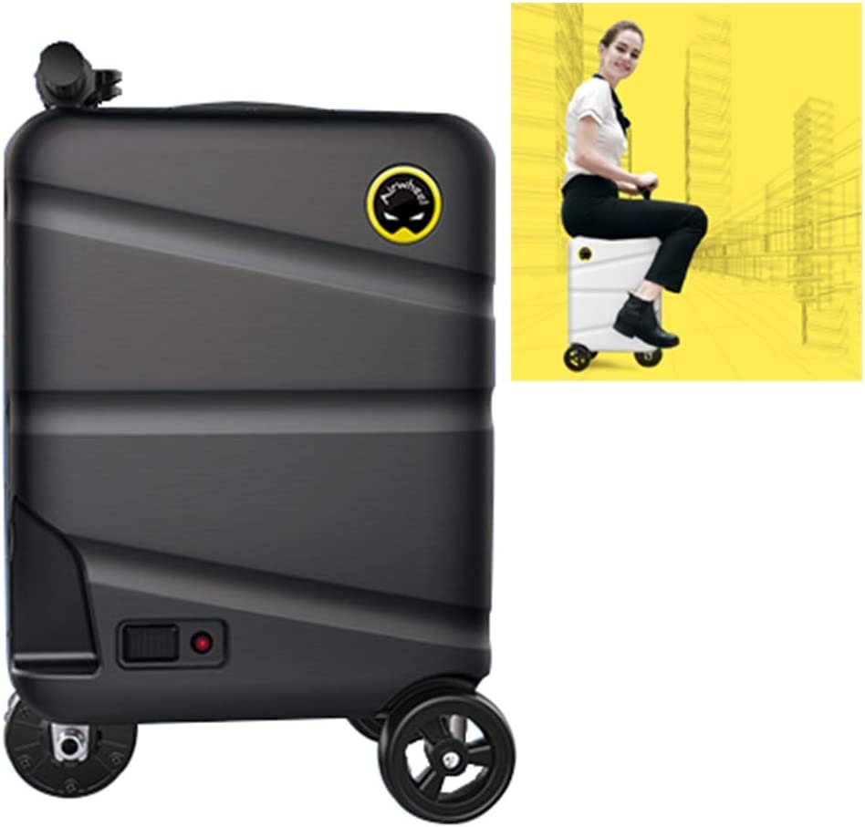 20 pulgadas monociclo eléctrico Montar Maleta - Smart tripulado manejable equipaje Vespa, la caja de almacenamiento portátil de viaje Carro con extraíble banco energía de la batería ( Color : Black )