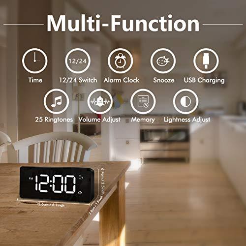 HOMVILLA Reloj Despertador Digital, LED Despertadores Electrónicos Espejo y 2 Alarma Puerto de Carga USB, 12/24 Horas, Brillo Ajustable, función de Despertador, 25 música