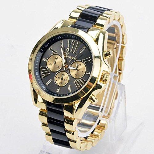 Jingjing1 Unisex Quartz Full Steel Watch Luxury Watches Casual Wrist Watch Gold Dial Alloy Watch (Black)