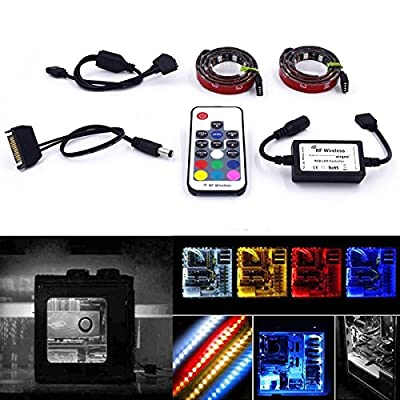 Super Bright Computer LED Strip Kit - Vibrant LED Computer Lighting LED Computer Lights - RGB Multi Color 2pcs 20inch LED Strip Light With Multi Function RF Remote for Desktop PC Computer Mid Tower C