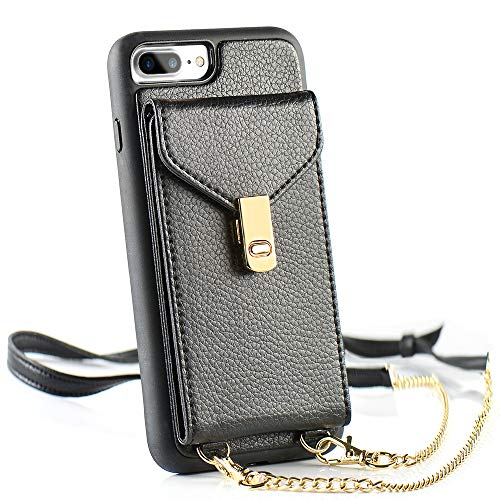 LAMEEKU Wallet Case for iPhone 8 Plus / 7 Plus, Card Holder Case with Credit Card Slot Purse Bag Crossbody Chain Adjustable Wrist Strap Protective Cover Compatible for iPhone 8 Plus / 7 Plus - Black