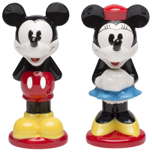Zak Designs Disney Mickey and Minnie Mouse Ceramic Salt and Pepper Shakers (Christmas Mouse Micky)