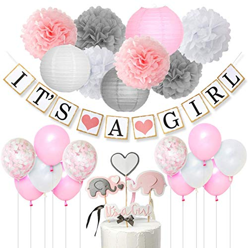 Baby Shower Decorations for Girls Pink White and Gray It's A Girl Banner, Elephant Cake Topper, Confetti Balloons, Paper Pom Poms for Baby Girl Shower -
