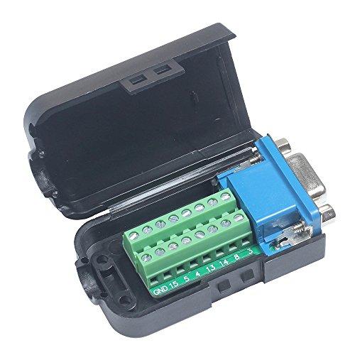 Icstation VGA D-SUB DB15 15 Pin Female Plug to Terminal Breakout Board Connector for LCD Monitor (Vga Out 15 Pin)