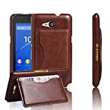 For Sony Xperia E4g , Leathlux Luxury Slim PU Leather Hard Back Case Cover Shell with Card Slot Kickstand Protective Skin for Sony Xperia E4g E2003 E2006 E2053 Brown