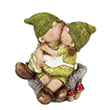 Northlight 7.25″ Young Boy and Girl Gnome's Sitting on a Stone Spring Outdoor Garden Patio Figure For Sale