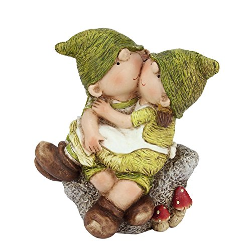 """7.25"""" Young Boy and Girl Gnome's Sitting on a Stone Sprin..."""