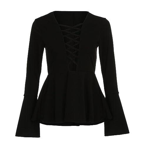 Blusa de vendaje 2017 Otoño, Kukul Blusa para Mujer Camisa de Cuello en V