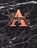 Allison: Personalized Dot Grid Bullet Notebook for Women or Girls. Monogram Initial A. Black Marble & Rose Gold Cover. 8.5' x 11' 110 Pages Dotted Journal Diary Paper