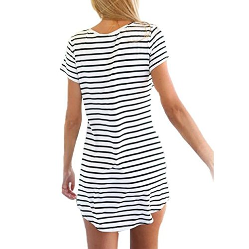 Dresses for Women Work Casual,Summer Dresses for Women,Women's Casual Dresses O-Neck Short Sleeve Striped T-Shirt Dress White by Wugeshangmao Dress (Image #1)