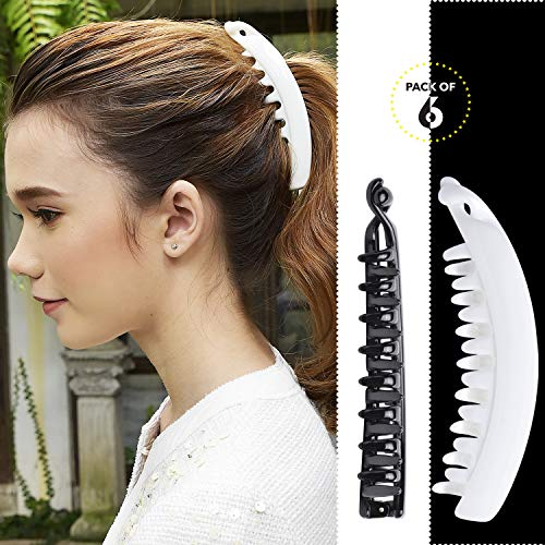 Womens Beauty Accessories - RC ROCHE ORNAMENT Womens Premium Hair Plastic Banana Classic Clincher Strong Hold Ponytail Maker Girls Ladies Beauty Accessory Clasp Clip, 6 Pack Count Large Black and White