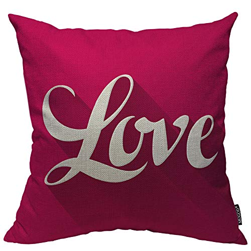 (Mugod Word Love Decorative Pillow Case Happy Valentine's Day Pink and White Romantic Throw Pillow Cover Home Decor Cotton Linen Square Cushion Cover for Couch Bed Sofa 20X20)