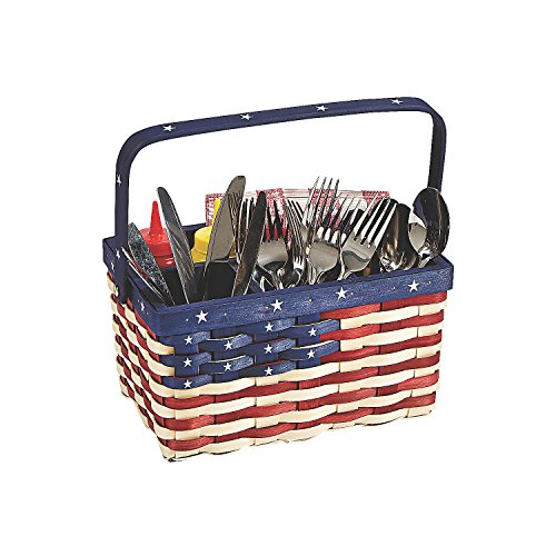 Patriotic Condiments Holder Caddy Americana Patriotic Party Table Top Decorative Basket (Holder Patriotic)