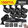 ISEEUSEE 960H 8CH HDMI DVR Video CCTV Security Camera System With 8x Outdoor/Indoor IR-CUT Night Vision Cameras Surveillance Kit Support Mobile Remote, 65ft Night Vision - 1TB Hard Drive Included
