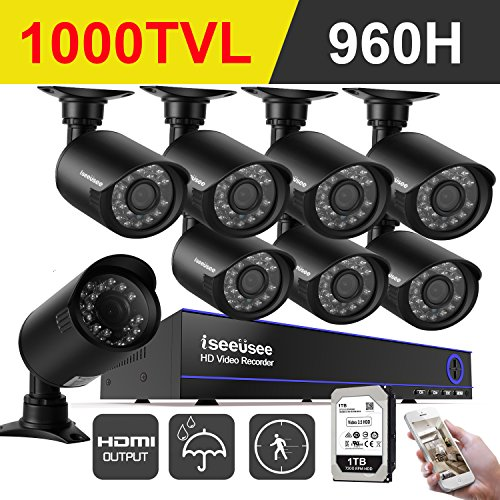 Ais System (ISEEUSEE 960H 8CH HDMI DVR Video CCTV Security Camera System With 8x Outdoor/Indoor IR-CUT Night Vision Cameras Surveillance Kit Support Mobile Remote, 65ft Night Vision - 1TB Hard Drive Included)