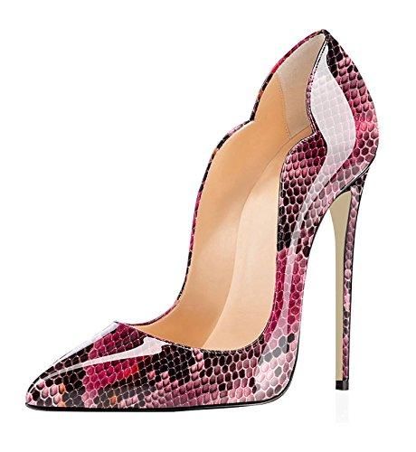 Edefs Ladies Scarpe A Punta Tacco 120mm Tacco Alto Tacchi Alti Scarpe Da Sera Chiuse Pitone Rosso