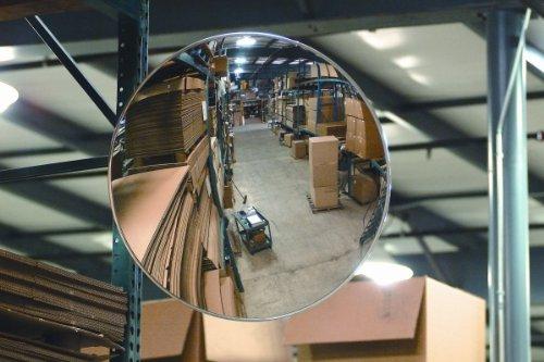Round Acrylic Convex Security Mirror - Telescoping Bracket - 26