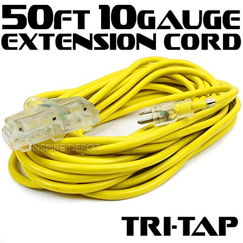 - XtremepowerUS 50-feet 10-Gauge Extension Power Cord Wire UL approval (125V, 15Amp) Current Cable Clear TRI-TAP Plug
