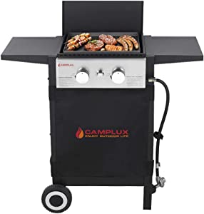 Camplux Propane Gas Griddle, Gas Grill and Griddle Combo, 22,000 BTU Outdoor Griddle 2 Burner Flat Top with 20 lb Connector, Black Windproof Lid and Movable Wheels for Home Camping Cooking Picnicking