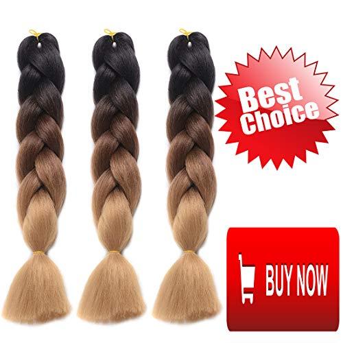 DingDian Braiding Hair Ombre Kanekalon Jumbo Braids Synthetic Braiding Hair 3Pcs/Lot Hair Extension for Twist Braiding Hair