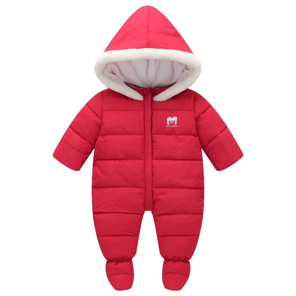 SanReach Baby Winter Fur Trim Hooded Down Snowsuit Footie Jumpsuit Romper Puffer Jacket