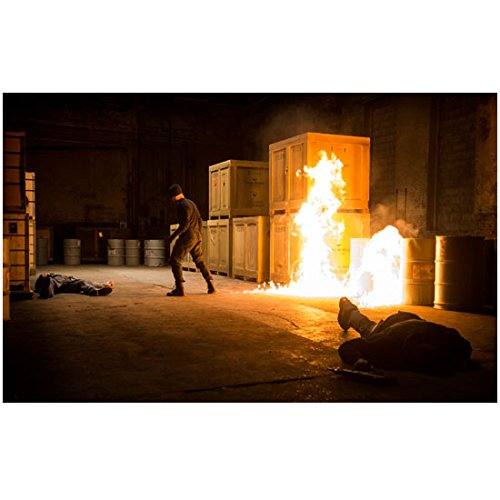 Daredevil Costume Netflix (Daredevil action shot on set black costume fire on set (8 inch by 10 inch) PHOTOGRAPH TL)