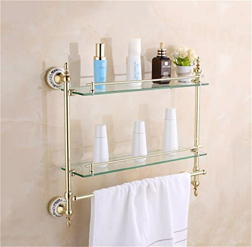 AiRobin-Continental Gold Stainless Steel Ceramic Wall Mounted Bathroom Glass Shelves Bathroom Accessory