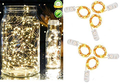Pack of 6 Pcs Fairy Lights Battery Operated String Lights with 20 Micro LEDs 7.2ft Firefly Lights Copper Wire LED Lights Starry String Lights for Christmas Party Centerpiece Decor Warm White ()