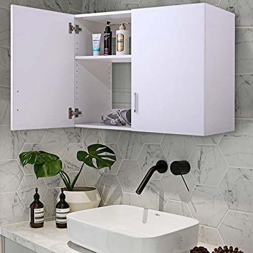 White Wall Mount Storage Cabinet Laundry Kitchen Bathroom Shelf Unit 2 -